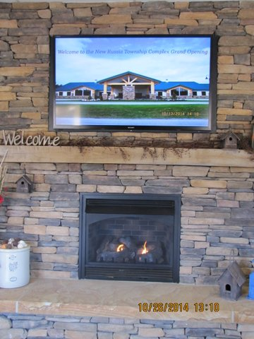 Lobby Display TV-Fireplace